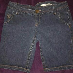 DKNY Womens Jeans Bermuda Shorts Denim Medium Wash